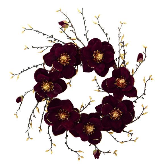 24 Burgundy and Gold Magnolia Artificial Wreath - SKU #4261