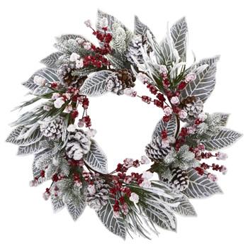 24 Snowy Magnolia Berry Artificial Wreath - SKU #4262