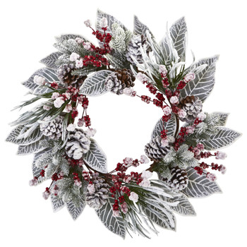 24 Snowy Magnolia Berry Artificial Wreath - SKU #4262