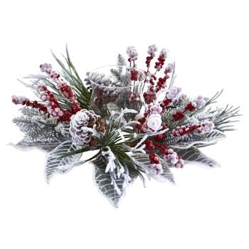 Snowy Magnolia Berry Artificial Arrangement Candelabrum - SKU #4263