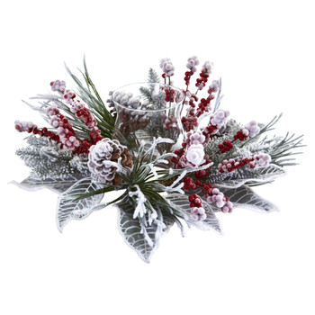 Snowy Magnolia Berry Artificial Arrangement Candelabrum - SKU #4263