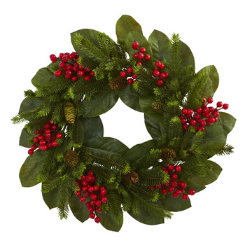 24 Magnolia Leaf Berry and Pine Artificial Wreath - SKU #4264