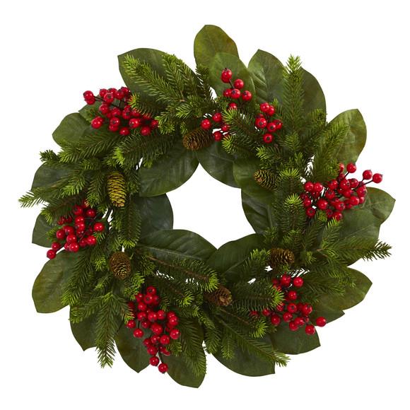 24 Magnolia Leaf Berry and Pine Artificial Wreath - SKU #4264