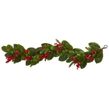 5 Magnolia Berry Pine Artificial Garland - SKU #4265