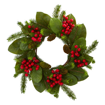 19 Magnolia Leaf Berry and Pine Artificial Wreath - SKU #4266