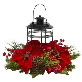 Poinsettia Berry Pine Artificial Arrangement Candelabrum - SKU #4267