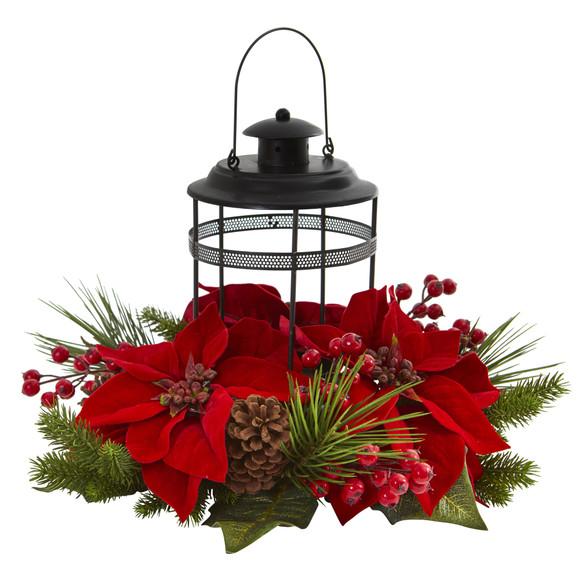 Poinsettia Berry Pine Artificial Arrangement Candelabrum - SKU #4267