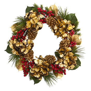 24 Golden Hydrangea with Berries and Pine Artificial Wreath - SKU #4268