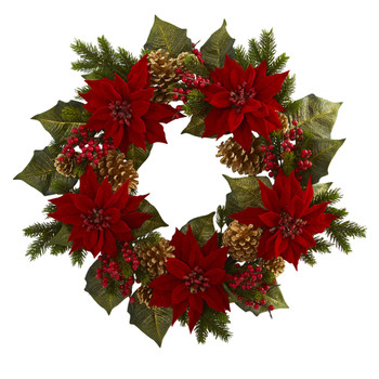 24 Poinsettia Berry and Golden Pine Cone Artificial Wreath - SKU #4269