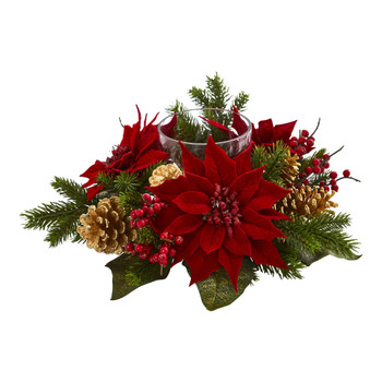 Poinsettia Berry and Golden Pine Cone Candelabrum Artificial Arrangement - SKU #4270