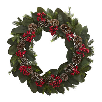 30 Magnolia Leaf Berry Pine and Pine Cone Artificial Wreath - SKU #4271