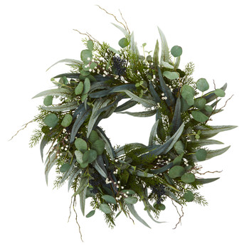 24 Eucalyptus and Mixed Greens Artificial Wreath - SKU #4272