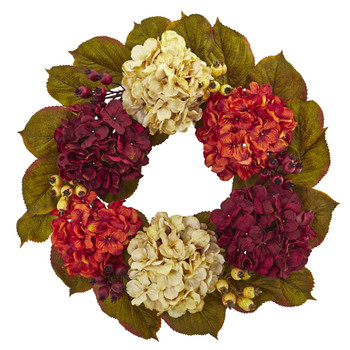 20 Hydrangea Berry Artificial Wreath - SKU #4273