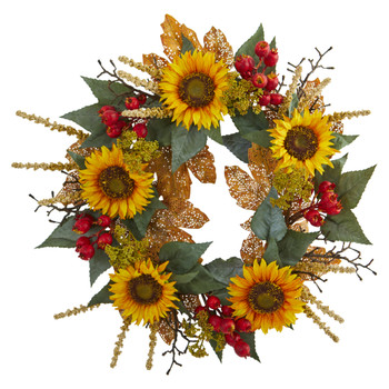 27 Sunflower Berry Artificial Wreath - SKU #4275