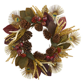 27 Magnolia Leaf Berry Antler and Peacock Feather Artificial Wreath - SKU #4276