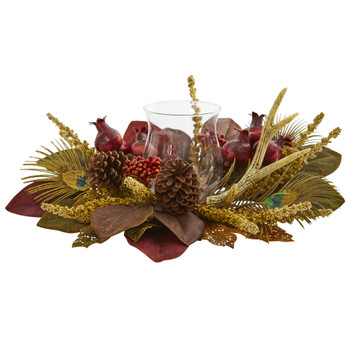 Magnolia Berry Antler and Peacock Feather Artificial Candelabrum Arrangement - SKU #4277