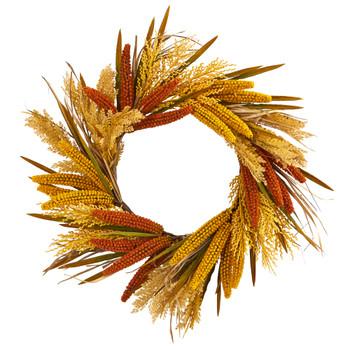 25 Sorghum Harvest Artificial Wreath - SKU #4278