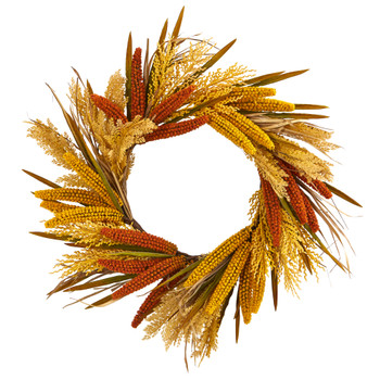 25 Sorghum Harvest Artificial Wreath - SKU #4278