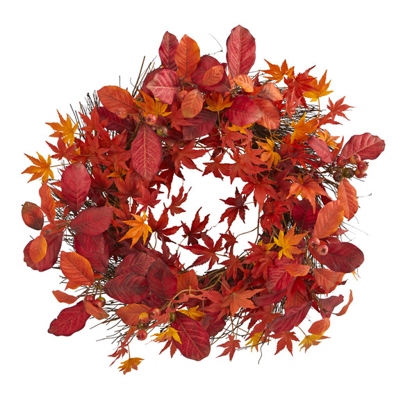 22 Japanese Maple Magnolia Leaf and Berries Artificial Wreath - SKU #4280
