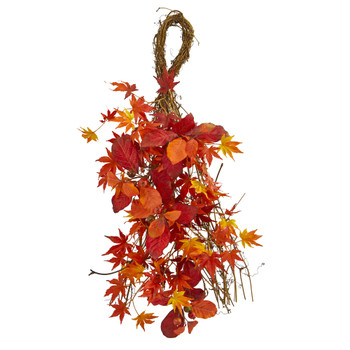 26 Mixed Japanese Maple Magnolia Leaf and Berries Artificial Teardrop - SKU #4281