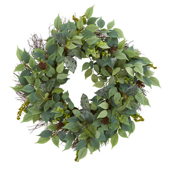 23 Mix Royal Ruscus Fittonia and Berries Artificial Wreath - SKU #4282