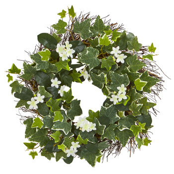 20 Variegated Sage Ivy and Stephanotis Artificial Wreath - SKU #4283