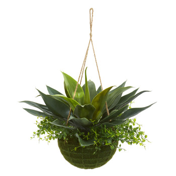Agave and Maiden Hair Artificial Plant in Hanging Basket Indoo/Outdoor - SKU #4285