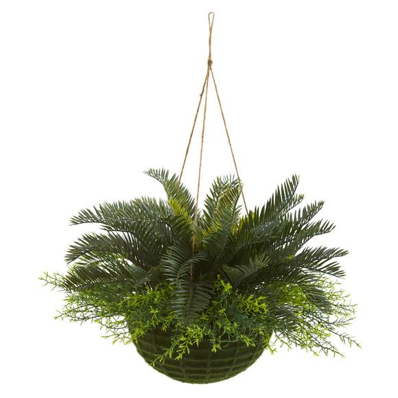 Cycas Artificial Plant in Mossy Hanging Basket Indoor/Outdoor - SKU #4286