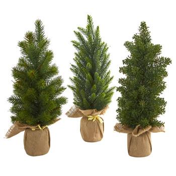 15 Mini Cypress and Pine Artificial Tree Set of 3 - SKU #4287-S3