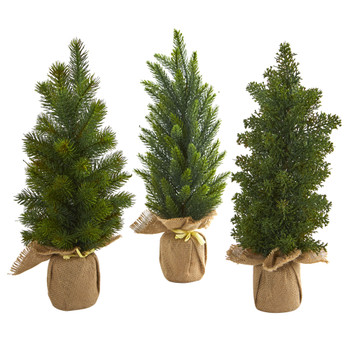 15 Mini Cypress and Pine Artificial Tree Set of 3 - SKU #4287-S3