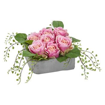 Rose Artificial Arrangement in Square Ceramic Vase - SKU #4288