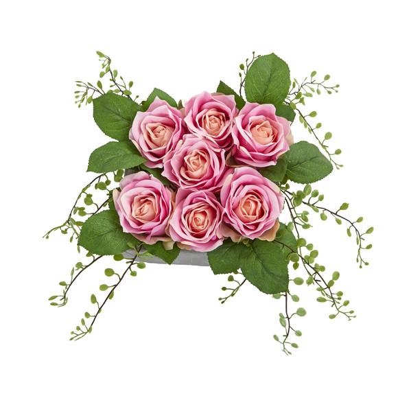 Rose Artificial Arrangement in Square Ceramic Vase - SKU #4288 - 1