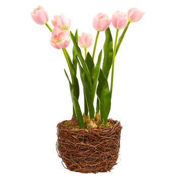 Tulip Artificial Arrangement in Twig Vase - SKU #4289