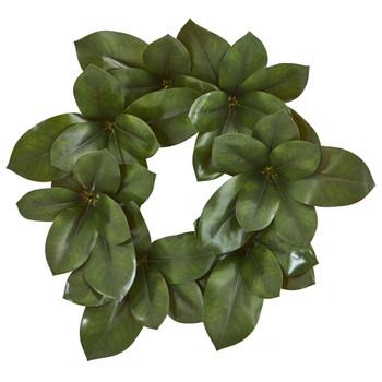 22 Magnolia Leaf Artificial Wreath - SKU #4292