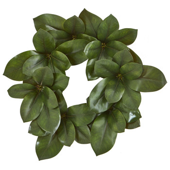 22 Magnolia Leaf Artificial Wreath - SKU #4292
