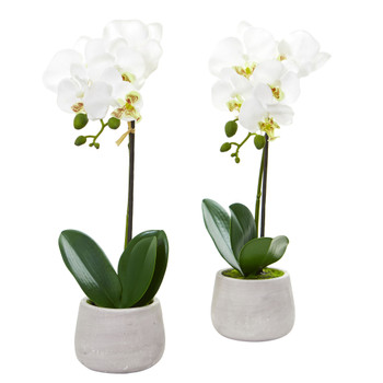 Phalaenopsis Orchid Artificial Arrangement Set of 2 - SKU #4297-S2
