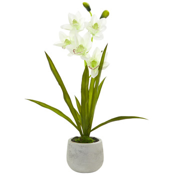 Cymbidium Orchid Artificial Arrangement in Vase - SKU #4298