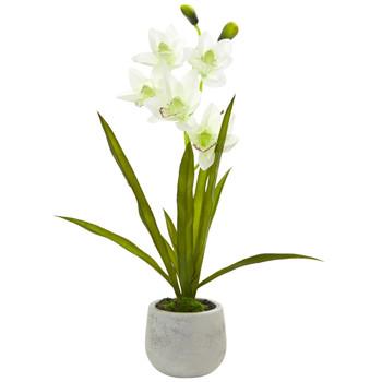 Cymbidium Orchid Artificial Arrangement in Vase - SKU #4298