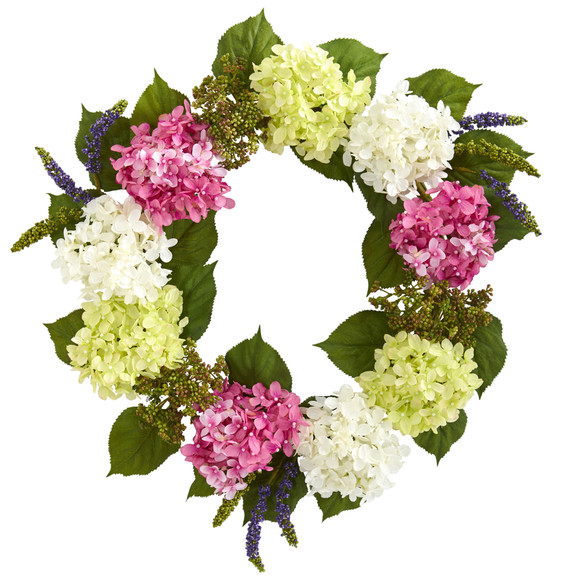 23 Hydrangea Artificial Wreath - SKU #4312