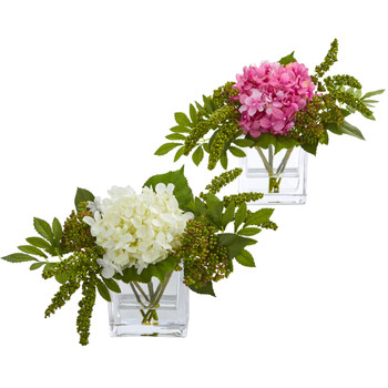 Hydrangea Artificial Arrangement in Vase Set of 2 - SKU #4314-S2