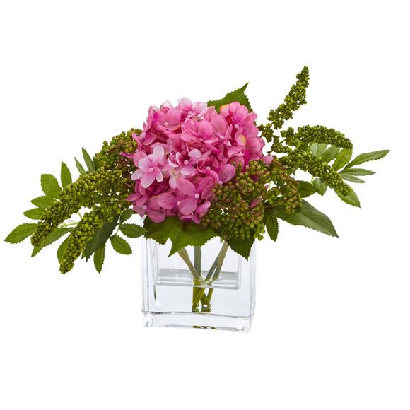 Hydrangea Artificial Arrangement in Vase Set of 2 - SKU #4314-S2 - 1