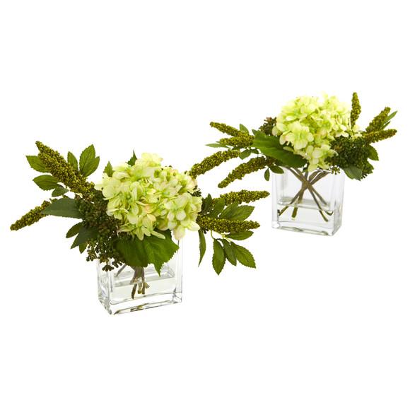 Hydrangea Artificial Arrangement in Vase Set of 2 - SKU #4314-S2 - 7