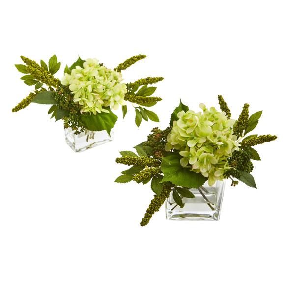 Hydrangea Artificial Arrangement in Vase Set of 2 - SKU #4314-S2 - 8