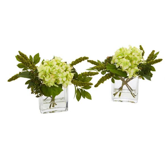 Hydrangea Artificial Arrangement in Vase Set of 2 - SKU #4314-S2 - 9