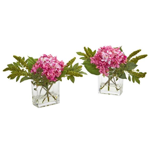 Hydrangea Artificial Arrangement in Vase Set of 2 - SKU #4314-S2 - 3