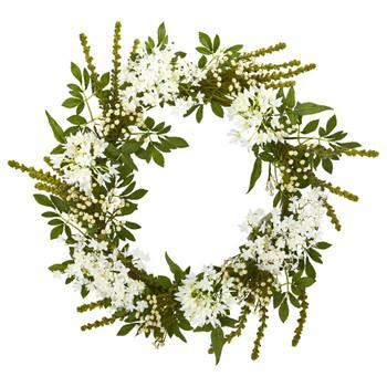 24 White Mixed Floral Artificial Wreath - SKU #4318