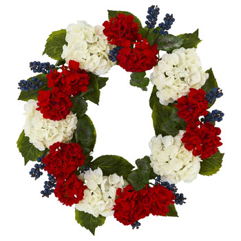 21 Geranium and Blue Berry Artificial Wreath - SKU #4324