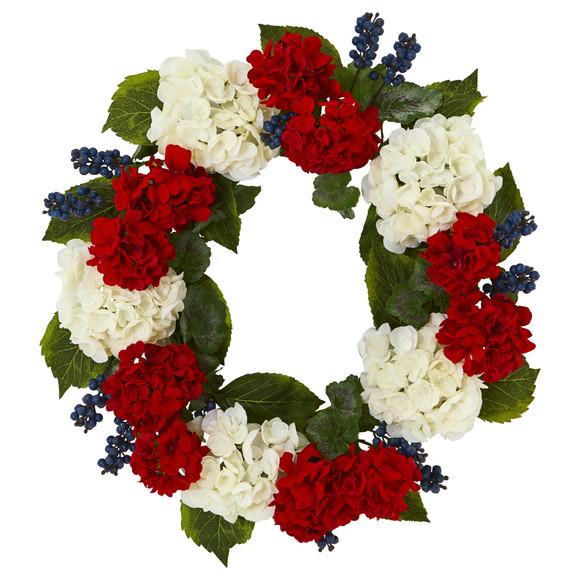 21 Geranium and Blue Berry Artificial Wreath - SKU #4324
