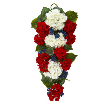 26 Geranium and Blue Berry Artificial Teardrop - SKU #4325
