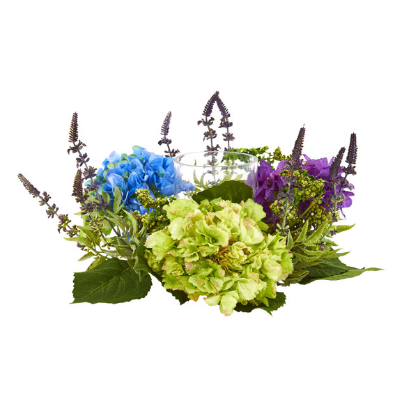 Hydrangea Artificial Arrangement Candelabrum - SKU #4326